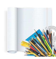 Notepad and pens vector image