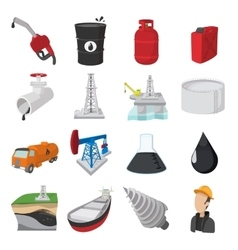 Oil industry cartoon icons vector