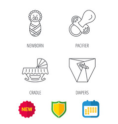 Pacifier newborn and diapers icons vector