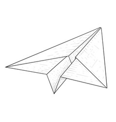 paper airplane hand drawn sketch vector image