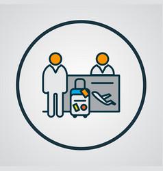 passenger at registration icon colored line symbol vector image