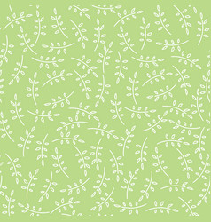 Pattern with cute twigs in green color vector