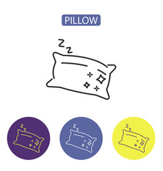 pillow line icons vector image