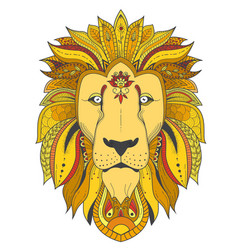 Poster with zenart patterned lion vector