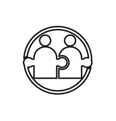 Puzzle commitment teamwork together outline logo vector