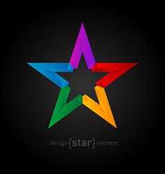 rainbow Star Abstract design element on black vector image