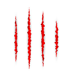 Red scratch set claws scratching animal scrape vector