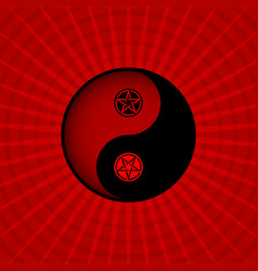 Red yin yang oriental sacral symbol with pentagram vector