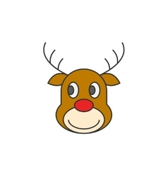 Reindeer Christmas flat line icon vector image