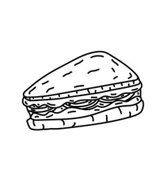sandwich icon doodle hand drawn or black outline vector image