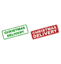 Scratched christmas delivery stamp seals with vector