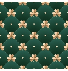Seamless irish gold pattern with clover and heart vector