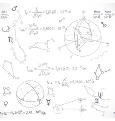 Seamless pattern of the formulas on the astronomy vector image
