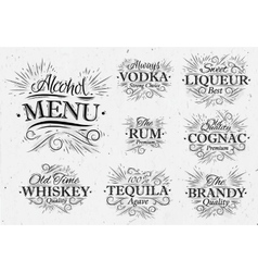Set alcohol menu vintage vector