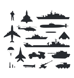 set military armament silhouettes vector image