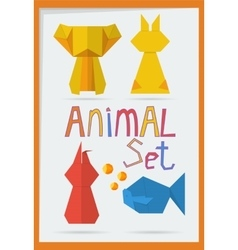 set of geometric animals vector image