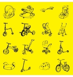 Set of icon hand drawn baby transport vector