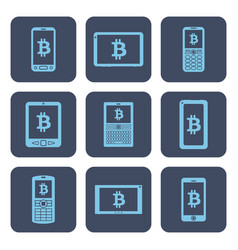 set of icons - mobile devices with bitcoin vector image
