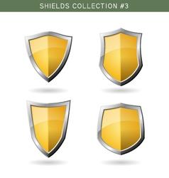 Set of metal orange mediavel shields template on vector