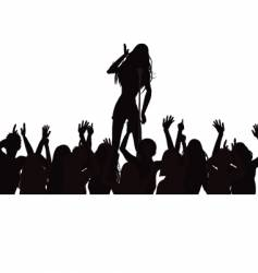 Singer and crowd silhouette vector