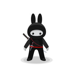 Standing cute bunny ninja with sai and katana vector