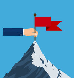 standing with red flag on mountain peak vector image