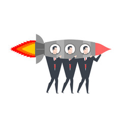 start up business team in rocket office life vector image