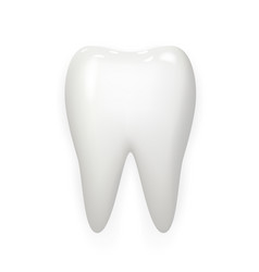 Stomatology realistic 3d white tooth isolated mock vector