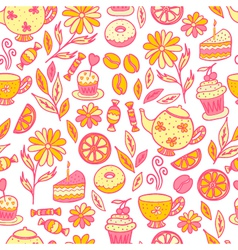 Tea time seamless pattern vector