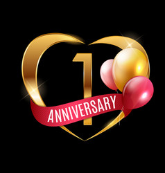 Template gold logo 1 years anniversary with ribbon vector