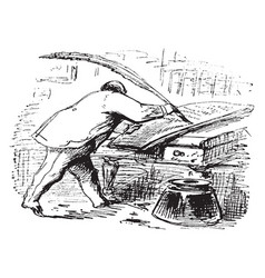 Thomas nast writing with a feather pen or drawing vector