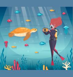 Underwater shot diving composition vector