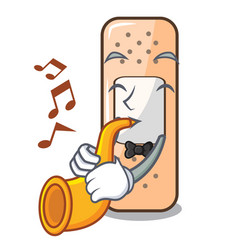 With trumpet sticking plaster on the mascot table vector