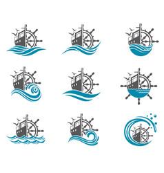 yacht helm wheel set vector image
