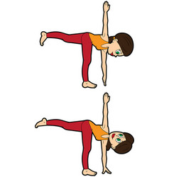 Yoga asana set revolved half moon pose vector