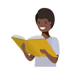 Young black student reading book vector