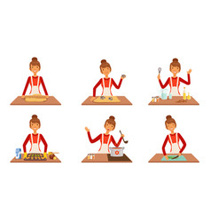 Young woman cooking and baking set housewife vector