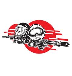 Cartoon Boy and Girl play airsoft guns vector image vector image