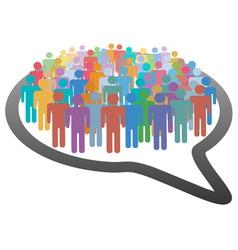 crowd social media people speech bubble network vector image