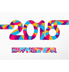 happy new year 2018 colorful cutout number card vector image vector image