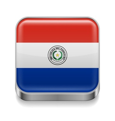 Metal icon of Paraguay vector image