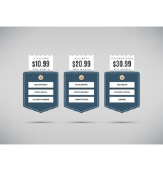 Web pricing table with comparison of business vector image vector image