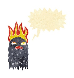 burning cartoon ghost with speech bubble vector image vector image