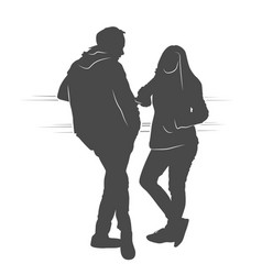 couple boy and girl speaking and waiting vector image vector image