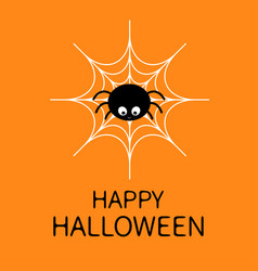 happy halloweenspider on the web cute cartoon vector image vector image