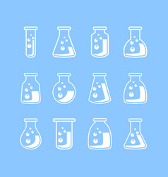line laboratory glassware icons vector image