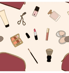 Seamless Cosmatic bag and accessories vector image vector image