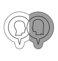 sticker monochrome with dialogue between man and vector image