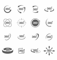 360 degree view related icon set signs and arrows vector image vector image