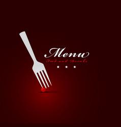 fork menu restaurant cover vector image
